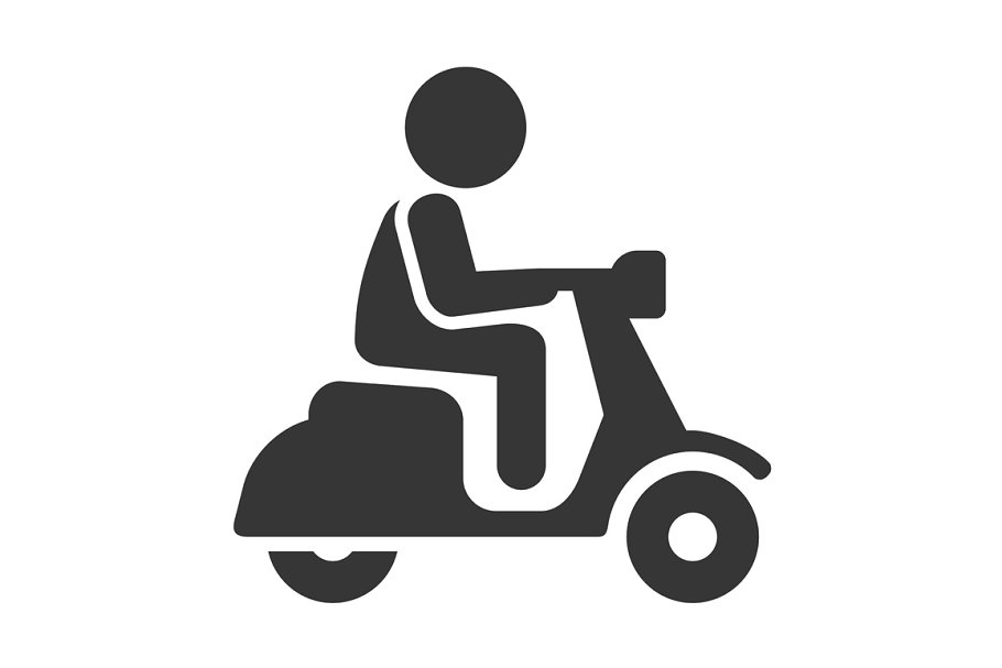 Scooter Driver Stick Figure Man Icon