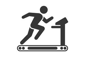 Running Man on Treadmill Icon Set