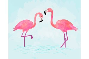 Pink Flamingo couple on blue