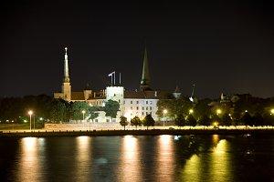 Riga Castle at night, Latvia