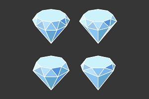 Diamond Crystal Icons Set