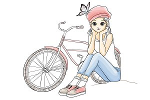 Cute Young Girl with a bicycle