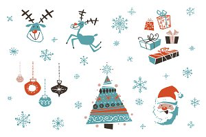 Christmas Vector Set Retro Style