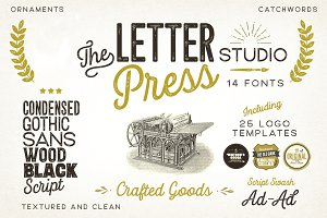 Letterpress Studio Fonts -26% SALE