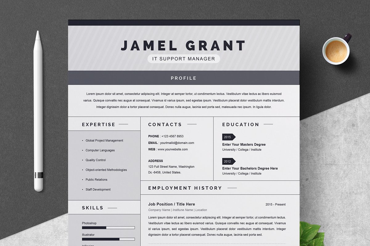 One Page Creative Resume Template ~ Resume Templates ...
