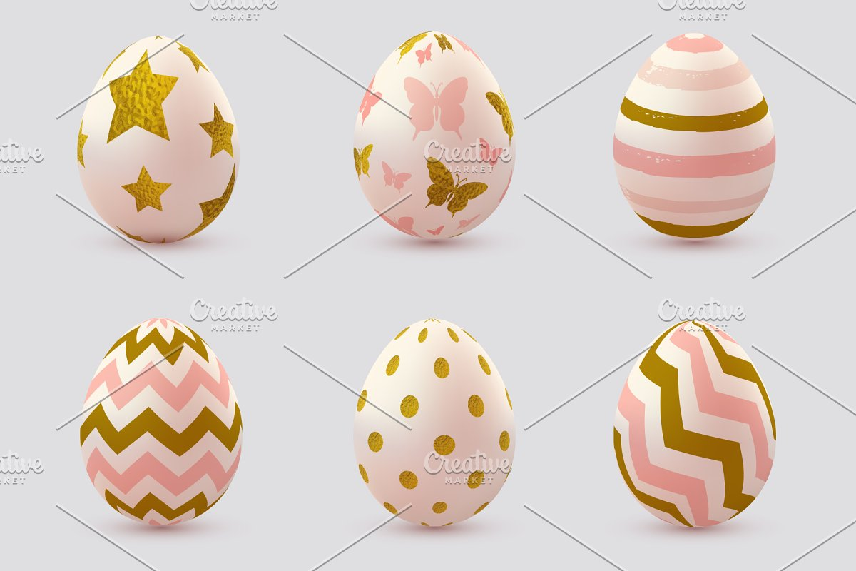 Set Of Pink Decorative Easter Eggs Illustrations Creative Market
