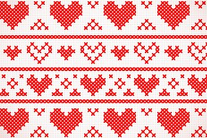 Red cross stitch hearts and stripes