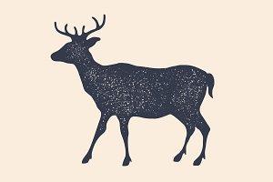 Deer, silhouette. Vintage logo
