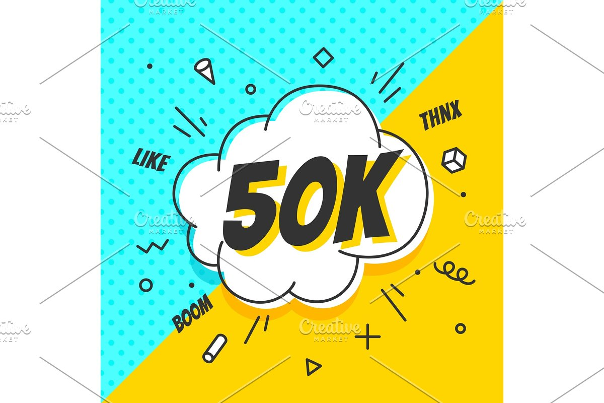 50K Followers, speech bubble. Banner