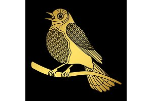 Singing doodle gold bird