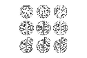 Line pizza icons set