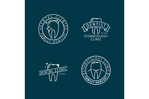 Dental clinic line logo templates