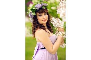 beautiful girl in purple dress with