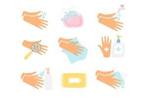 Hand hygiene icons set