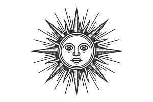 Antique Sun Face Icon