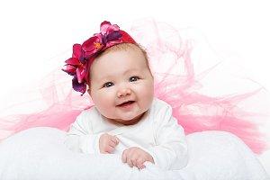 happy beautiful baby girl in tutu