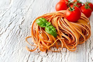 Red italian pasta for cooking