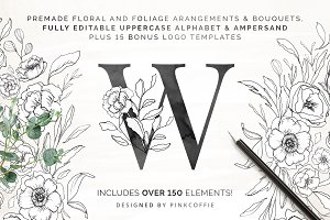 White Bloom Florals, Alphabet +Logos