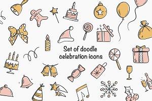 Set of doodle celebration icons