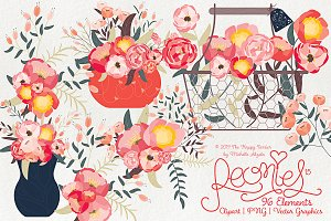 Peonies 015 - Clipart, PNG & Vector