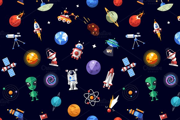 Flat Design Space Icons Pattern in Patterns