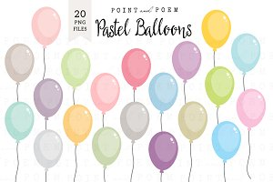Pastel Balloons Clip Art