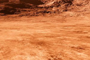 Dramatic Mars mountains surface text