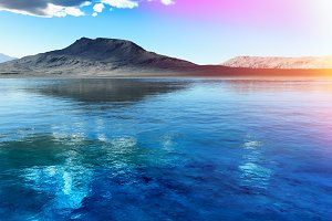 Cgi rendered mountain near lake land