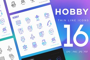 Hobby | 16 Thin Line Icons Set