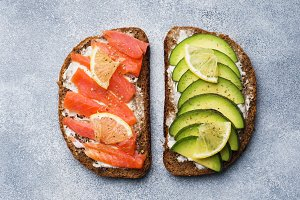 Open sandwiches with avocado salmon