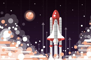 Space Shuttle Launch Illustration
