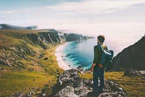 Summer travel man tourist standing