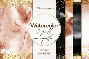 Watercolor & Gold confetti papers