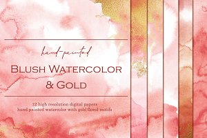 Gold & Blush watercolor papers