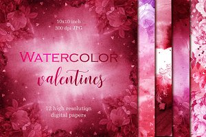 Valentines watercolor digital papers