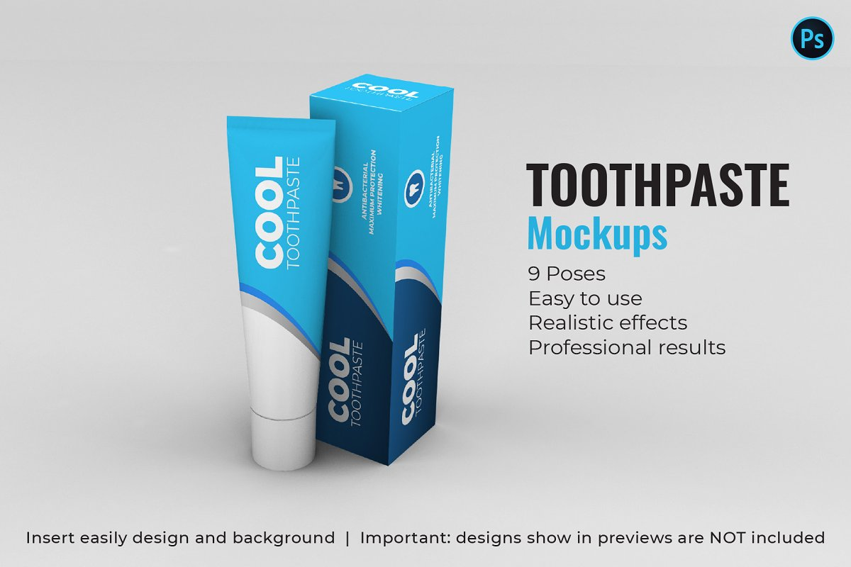 Toothpaste Mockups - 9 Poses in Product Mockups