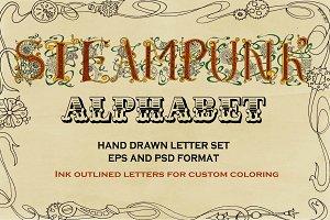 Steampunk Hand Inked Alphabet