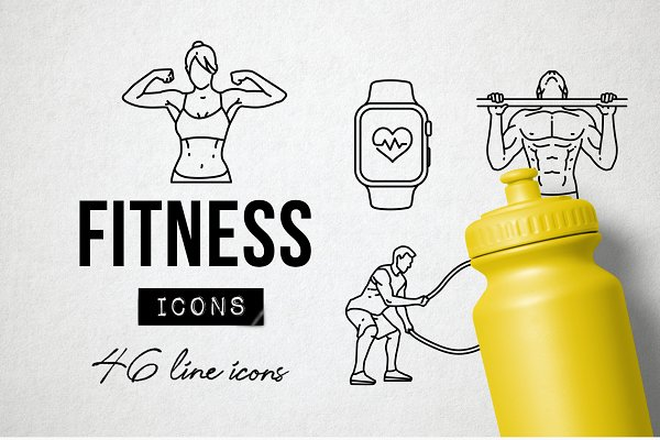 46 Fitness Icons - Exercise, Sports