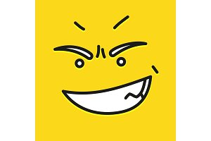Smile icon template design. Angry