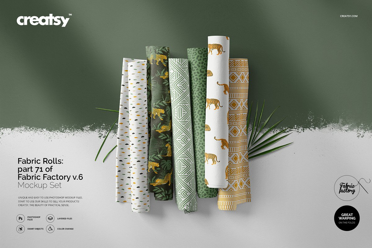 Fabric Rolls Mockup 71/FF v.6 in Product Mockups