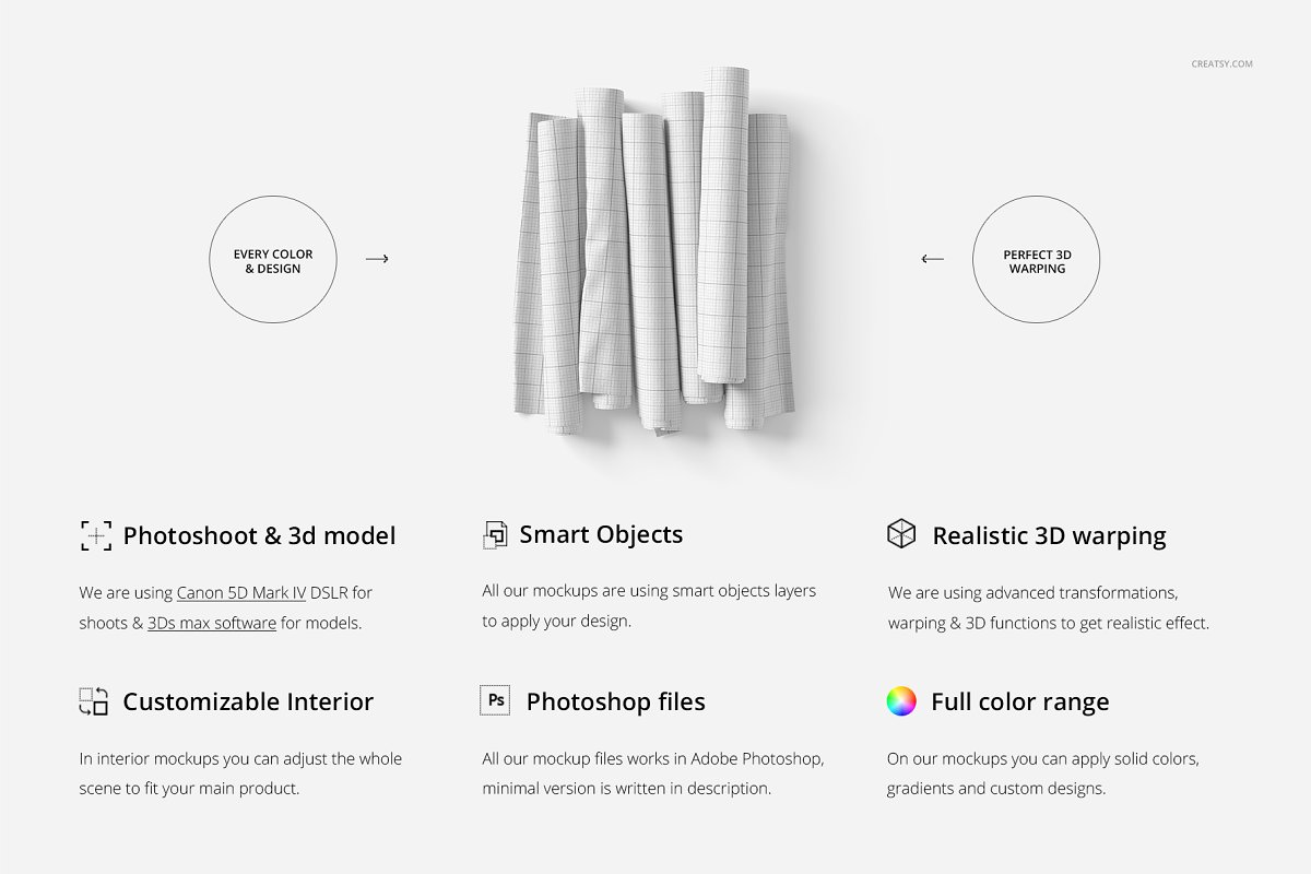 Fabric Rolls Mockup 71/FF v.6 in Product Mockups - product preview 1