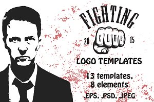 Set of cool fighting club emblems