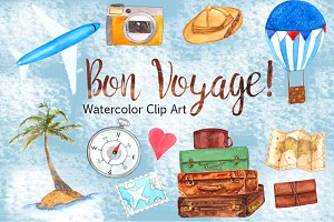 Bon Voyage - Watercolor Clip Art Set