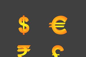 Vector Currency Symbols in 3d