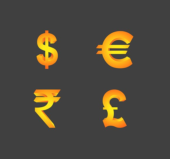 Vector Currency Symbols In 3d Icons Creative Market