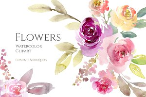Watercolor Flowers, Bouquets PNG