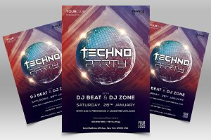 Techno Party PSD Flyer Template