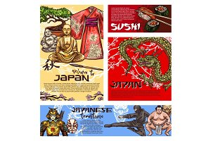 Japanese sushi, warriors and Buddha