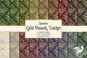 Gold Damask Leather Digital Paper