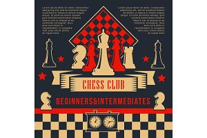Chess pieces, clock on chessboard